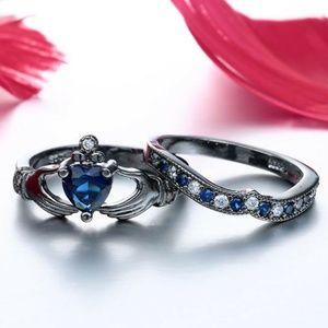 (9.5) 2pc Set Claddagh Irish Sapphire